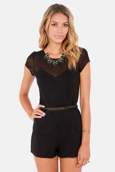 Check it out from Lulus.com! All the boys will swoon when you wear this little black romper! Our I'm Mesh About You Black Belted Romper will surely grab their attention. A darted bodice in a medium-weight stretch knit fabric is dotted with a tiny diamond texture, and will enhance your curves with a little help from a high shine metal and faux leather belt (that's adjustable!). Sheer decolletage wraps around to a sexy sheer back panel and cute cap sleeves. Round neckline. Invisible back…