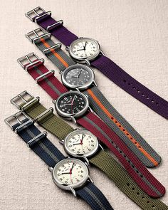 Some Timex Weekenders. Quartz movement, personalize with different watch bands, lots of different case/dial combos to pick from, super affordable and casual. Comes in different case sizes too. Best Smart Watches, Stylish Watches, Cool Watches, Watches For Men, Wrist Watches, Bracelet Nato, Watches Photography, Timex Watches, Nato Strap