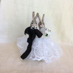 Needle felted rabbit  Hare  wedding cake topper Free by Felt4Soul, $57.00