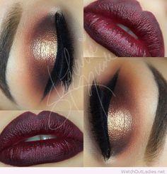Burgundy lips and gold eye makeup for Christmas
