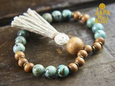 Our African Turquoise bracelet mala is calming and soothing, and it creates tranquility, comfort, and a sense of wholeness and healing.African Turquoise is known to attract prosperity, success, love, healing, courage, and friendship.