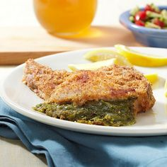 Pesto & Mozzarella Stuffed Pork Chops - these were sooooo good! Would be great to make for company! I served it with mashed garlic cauliflower (also pinned).