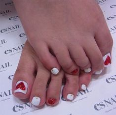 Valentine's Day Toe Nail Art Designs, Ideas, Trends & Stickers 2015 Pedicure Nail Art, Pedicure Designs, Toe Nail Art, Pedicure Ideas, Cute Nail Art Designs, Toe Nail Designs, Pretty Toe Nails, Love Nails, Valentine Nail Art