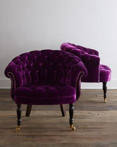 Haute House Chair, Horchow, $2459 Because the shade of this chair slants a little more towards purple and the chesterfield shape is incredibly classic, these will become defining features of your living room for years to come. They are bold and daring, and a perfect statement piece.