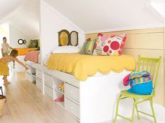 high bed with storage under. good for low ceilings and gives kids a feeling of a bunk bed.