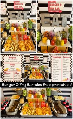Burger and Fry Bar Ideas including free printables! Ideas for party food, burger recipes, fries, dipping sauces and more! food burgers Burger and Fry Bar Ideas plus Free Printables - Moms & Munchkins Bbq Burger, Burger Toppings, Burger Bar Party, Party Food Bars, Snacks Für Party, Appetizers For Party, Burger Recipes, Bbq Party, Hamburger Bar