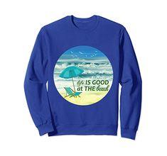 Amazon.com: Life Is Good at the Beach Summer Beach Vacation Graphic Sweatshirt: Clothing Christmas Store, Christmas Shopping, Beach T Shirts, Beach Outfits, Keep Shopping, Summer Beach, Shirt Outfit, Life Is Good, Fashion Brands