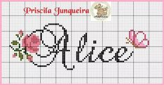 Cross Stitching, Alice, Bullet Journal, Watches, Pattern, Nursing Books, Cross Stitch Borders, Cross Stitch Art, Cross Stitch Alphabet
