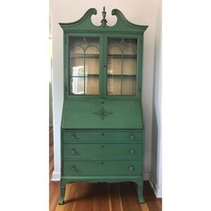 Vintage Green Secretary Cabinet With Original Paint Secretary Desk With Hutch, Built In Hutch, Secretary Desks, Painted Curio Cabinets, Painted Armoire, Furniture Projects, Diy Furniture, Furniture Refinishing, Painted Furniture