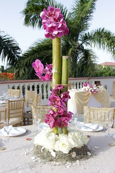 Bamboo and orchids make for such unique and tall centerpieces for your destination wedding at Dreams Rivera Cancun Resort & Spa! Bamboo Centerpieces, Beach Wedding Centerpieces, Unique Centerpieces, Wedding Stage Decorations, Flower Centerpieces, Tropical Floral Arrangements, Flower Arrangements, Flower Bouquet Wedding, Flower Bouquets