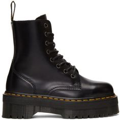 Dr. Martens Black Jadon Boots (€155) ❤ liked on Polyvore featuring shoes, boots, black, black shoes, platform shoes, dr martens shoes, black round toe boots and zip shoes