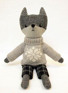 Grey Wolf Plush Toy Wool Tweed Interior toy Woodland by TweedyLand