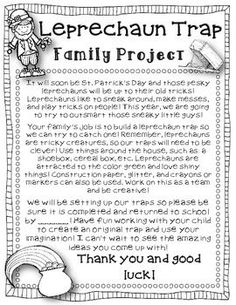 Leprechaun Trap FREEBIE {Letter to Send Home}. This would be a cute simple machine project! patricks day ideas for school Leprechaun Trap FREEBIE {Letter to Send Home} {St. Holiday Activities, Classroom Activities, Classroom Ideas, Science Classroom, Class Activities, Family Activities, St Pattys, St Patricks Day, Leprechaun Trap