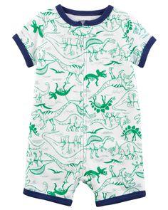 best service ea165 3b11a Baby Boy Dinosaur Zip-Up Cotton PJ Romper   Carters.com Carters Baby Boys