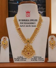 Exclusive Latest Light Weight Haram with Chandbali Earring Sets at WholeSale Prices! Please Visit Our Store Sri Shankarlal Jewellers At Jubilee Hills Hyderabad. To See Complete Collections Or For any further information Please Contact 7702434540 // Gold Temple Jewellery, Gold Wedding Jewelry, Gold Jewelry Simple, Gold Jewellery Design, Mango Mala Jewellery, Gold Haram Designs, Gold Earrings Designs, Gold Designs, Necklace Designs