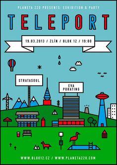 Teleport poster by Planeta 220 / Michaela Chmelíčková Retro Futuristic, World, Illustration, Poster, Facebook, Future, Amazing, Design, Words