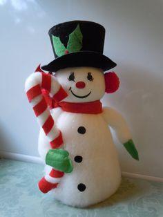 Vintage Christmas Snowman Decoration by TakeAdVintage on Etsy, $18.50