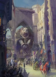 scifi-fantasy-horror:The great pig by Zach Cohen Dark Fantasy, Fantasy City, 3d Fantasy, Fantasy Setting, Fantasy World, Fantasy Paintings, Fantasy Artwork, Fantasy Character Design, Character Art