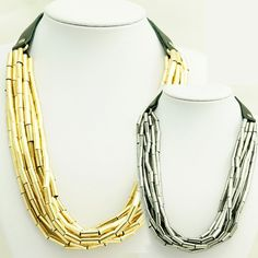 Alloy Beaded Multilayer Leather Necklace-Color Silver