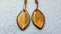 Gorgeous Reversible Brown Silver Copper and Blue Leaf Earrings by Jewellori, $18.00