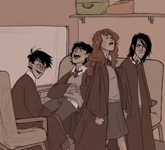 James, Sirius, Lily, Snape trip on the Hogwarts Express Arte Do Harry Potter, Harry Potter Comics, Harry Potter Universal, Harry Potter Fandom, Harry Potter World, Harry Potter Memes, Lily Potter, James Potter, Lily Evans
