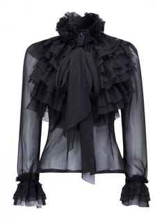 Black High Neck Bow Tie Front Layered Ruffle Sheer Shirt from Craven. Saved to Blouse (Ruffled). High Neck Shirts, Bow Shirts, High Neck Blouse, High Neck Top, Sheer Shirt, Ruffle Shirt, Sheer Blouse, Ruffle Neck Blouse, Black Blouse