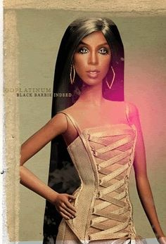 Kelly Rowland as a barbie oh shit that one looks as real as the Hasbro version!!