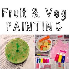 Fruit and vegetable painting and stamping. Toddler activities. Fun things to do. Messy play.