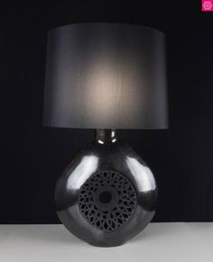 9e76c8920 Oaxacan Signed Desk Lamp Black Clay Pottery Flower Vase Dona Rosa Barro  Negro