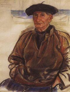 """Un vieux pêcheur"", 1926, de Zinaida Serebriakova (1884-1967, Ukraine)"