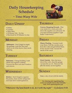 Daily Housekeeping Schedule from Time-Warp Wife. I think I could do this Diy Cleaning Products, Cleaning Solutions, Cleaning Hacks, Weekly Cleaning, Cleaning Schedules, Cleaning Checklist, Weekly Chores, Organizing Tips, Speed Cleaning
