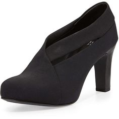 Eileen Fisher Peek Stretch Grosgrain Bootie ($235) ❤ liked on Polyvore featuring shoes, boots, ankle booties, black, short boots, black bootie, high heel boots, black booties und high heel bootie