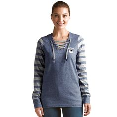 Vancouver Canucks Antigua Rumble Lace-Up Crew Sweatshirt - Navy - $43.99