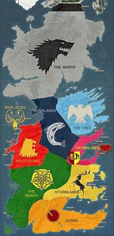 維斯特洛的七大王國勢力分布圖