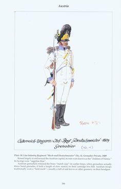 """Austria: Plate 10. Line Infantry Regiment """"Hoch-und~Deutschmeister"""" (No. 4), Grenadier Private, 1809"""