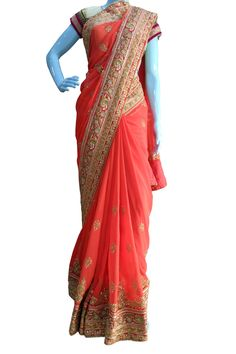 Buy Now Red Embroidery Pure Georgette Designer Choice Saree with Blouse only at Lalgulal.com. Price :- 6,952/- inr. To Order :- http://goo.gl/q5BQpF COD & Free Shipping Available only in India.