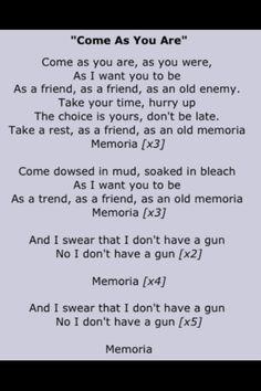 Nirvana Come as You Are Lyrics