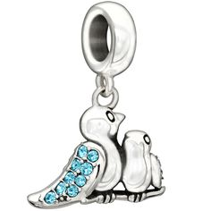 Chamilia's Sterling Silver 'Birds of a Feather' Charm with Swarovski Crystals #birds #chamilia #beads #jewelry