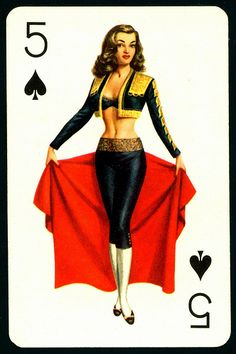 """""""Biba"""" Five of Spades / Pin-up Playing Card Pinup Art, Dita Von Teese, Amy Winehouse, Play Your Cards Right, Estilo Pin Up, Pin Up Posters, Vintage Playing Cards, Belly Dancers, Deck Of Cards"""