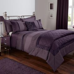 Stylish and contemporary duvet covers available from Dunelm. Our bed linen range includes a variety of colours and patterns, all made with high quality material and in every size, from single to king size duvet covers. Purple Bed Linen, Purple Bedspread, Purple Bedding Sets, Purple Curtains, Grey Bedding, Modern Bedding, Luxury Bedding, King Size Duvet Covers, King Bedding Sets