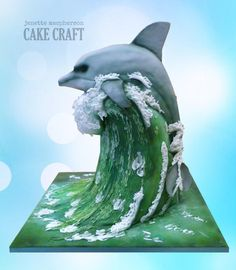 3D carved Dolphin on Wave - Cake by Janette MacPherson Cake Craft