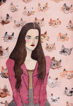 feline faces + raspberry blazer