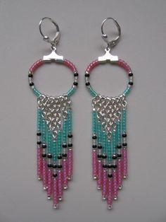 Seed Bead Chain Hoop Earrings  Opal Pink/Aqua por pattimacs en Etsy, $16.00