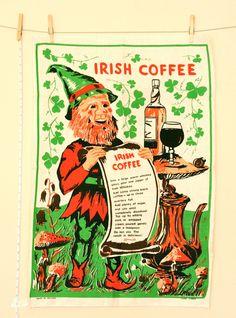 Vintage Irish Coffee Linen Tea Towel St. Patricks' Day Whiskey Leprechaun, via Etsy..