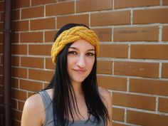 photo session of a girl with bulky braided knit headband