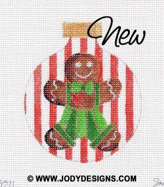 Gingerbread Boy Needlepoint Ornament  Jody Designs   by JODYdirect, $40.00