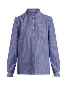 Saint Germain ruffle-detailed striped cotton shirt   A.P.C.   MATCHESFASHION.COM US