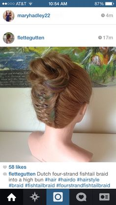 Dutch four strand fishtail into a high bun. This would be good for dance practice.