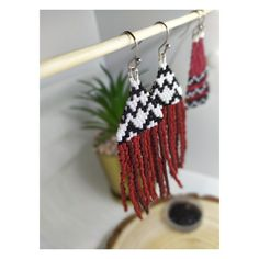 Hand-made, designed and beaded by myself using only the finest Japanese glass delica beads and nylon thread.. with love & care. Fringe Earrings, Beaded Earrings, Crochet Earrings, Native Beadwork, Native American Beadwork, Black And White Aesthetic, Black And White Design, Black And White Earrings, Black And White Background