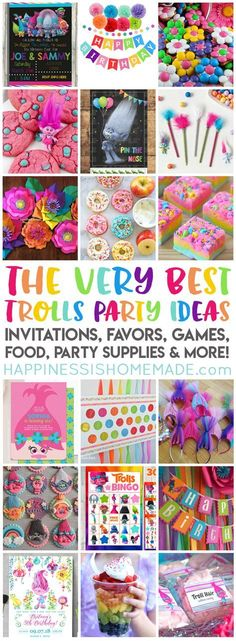 Planning a Trolls Birthday Party? We've got you covered with the best Trolls Party Ideas party supplies favors invitations decorations games Trolls Party, Trolls Birthday Party, Birthday Games, 4th Birthday Parties, Girl Birthday, Birthday Ideas, 21st Party, Birthday Crafts, 50th Birthday